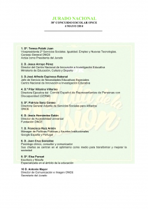 JURADO NACIONAL 30º CONCURSO ESCOLAR ONCE 4 MAYO 2014