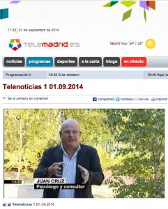 Vuelta de vacaciones  TeleMadrid Telenoticias1 1septiembre 2014